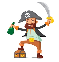 Pirate with chest vector image vector image