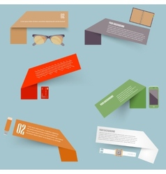 Set of blank rectangle labels with acute vector image vector image