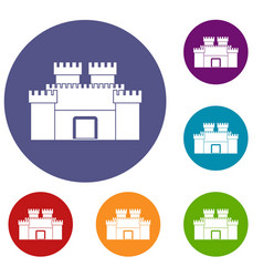 ancient fortress icons set vector image vector image