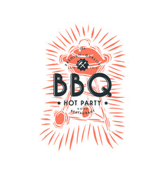 bbq grill and typographic emblem vector image