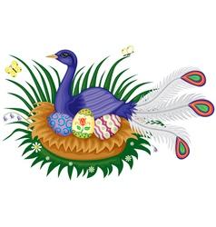 bird sitting on a nest vector image