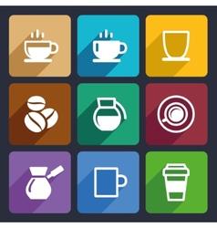 Coffee Flat Icons Set 43 vector image