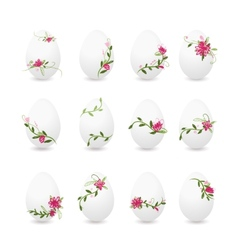 Easter eggs collection floral desogn vector image vector image