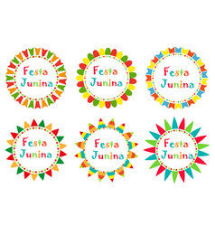 festa junina set frame with space for text vector image