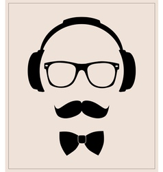 Hipster style set bowtie glasses mustaches vector image vector image