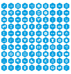 100 sport icons set blue vector