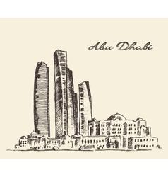 Abu Dhabi skyline vintage hand drawn vector