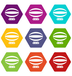 aerial transportation icon set color hexahedron vector image