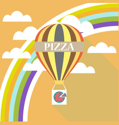 Air balloon pizza delivery flat design vector