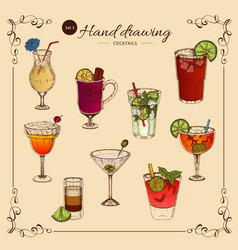 alcoholic drinks colored collection vector image