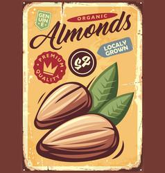 Almonds vintage metal sign vector