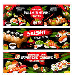 Asian sushi food japanese seafood rolls menu vector