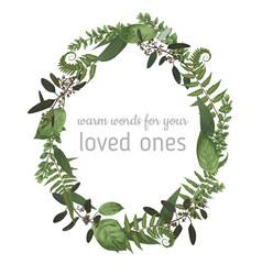 beautiful leafy frame wreath eucalyptus fern vector image
