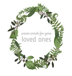 beautiful leafy frame wreath of eucalyptus fern vector image