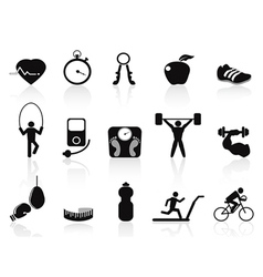 Black fitness icons set vector