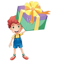 Boy holding box of present vector image