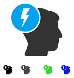 Brain electricity flat icon vector