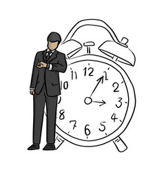 businessman looking at wrist watch with big retro vector image