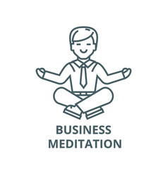 businessman meditation line icon vector image