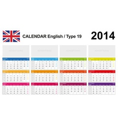 Calendar 2014 English Type 19 vector image vector image