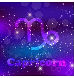 capricorn zodiac sign on a cosmic purple vector image
