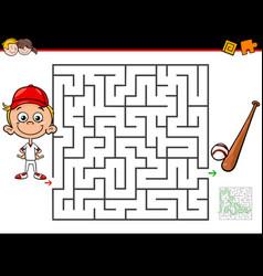 Cartoon maze activity with boy and baseball vector