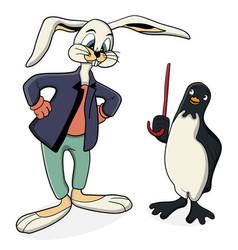 Cartoon rabbit and penguin are talking vector