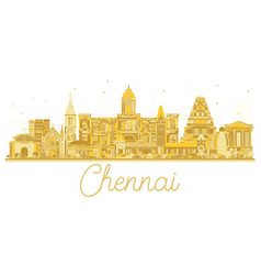 Chennai india city skyline golden silhouette vector