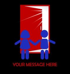 Children stand in front of the door vector image