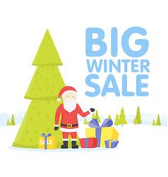 Christmas big sale flat design santa with sale vector