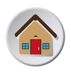circular button facade house icon design vector image