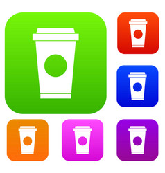 Coffee in take away cup set collection vector