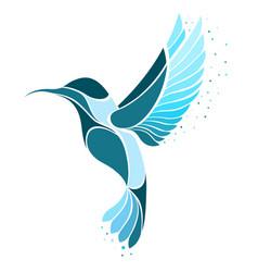 colibri bird logo exotic flying hummingbird vector image