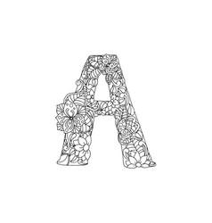 Coloring book ornamental alphabet letter a font vector