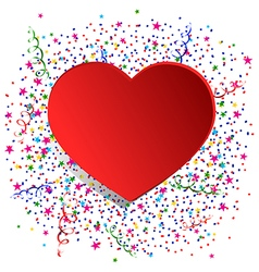 confetti and red heart vector image