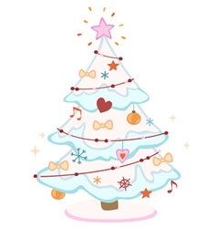 Cute decorated Christmas tree vector