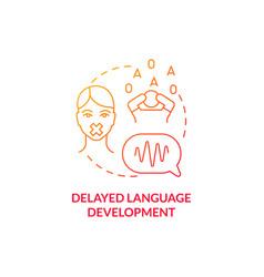 Delayed language development concept icon vector