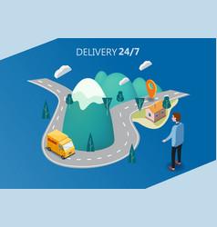 delivery service concept truck van buyer men vector image