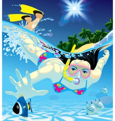 Diving girl vector image