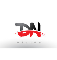 Dn d n brush logo letters with red and black vector