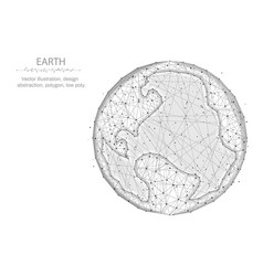 earth low poly design planet in polygonal style vector image