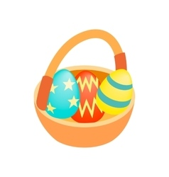 Easter eggs in the basket isometric 3d icon vector image