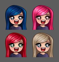 emotion icons happy female vector image
