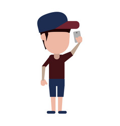 faceless person using smartphone icon image vector image