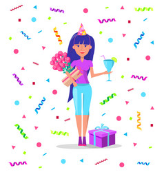 female with presents and flowers drinks cocktail vector image
