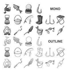 Fishing and rest monochrom icons in set collection vector