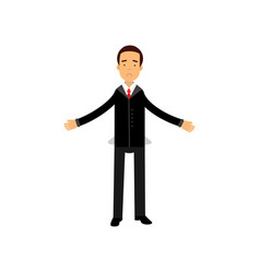 frustrated businessman character showing empty vector image