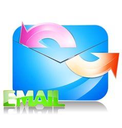 Glossy e mail icon on a white background vector image