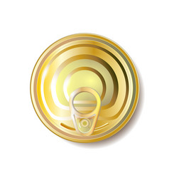 gold yellow tin can with ring pull top view vector image