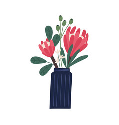 gorgeous bouquet with protea and decorative vector image